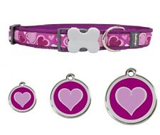 Red Dingo PURPLE Heart Dog / Puppy Collar | Adjustable | HEART Engraved ID Tag