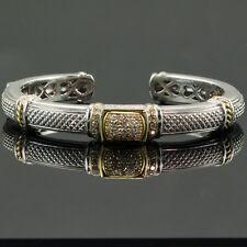 JUDITH RIPKA 0.60 CT. DIAMOND HINGED BACK BANGLE BRACELET 18K YELLOW GOLD SILVER