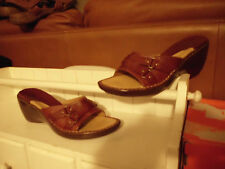 """LNC* Sz 7  G H BASS; Brown Leather Uppers w Buckle Accent 3"""" Wedge Sandal Shoes"""