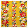 BonEful Fabric FQ Cotton Quilt VTG Yellow Gold Red White Flower Stripe Victorian