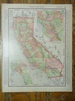 Nice colored map of the State of California -1907 Universal Atlas of the World