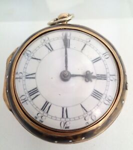 Gold & Under Painted Holmes of London Verge  Pair Case Pocket Watch 1762