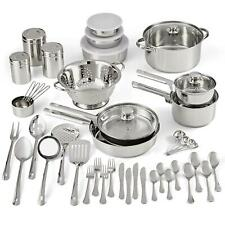 Cookware Set Stainless Steel Kitchen Tools Pots Pans Bowls 52 Pieces Flatware