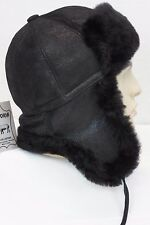 100% Sheepskin Shearling Leather Aviator Bomber Trapper Hunting Hat Ushanka M-3X