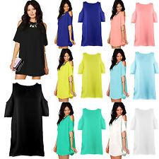 Women's Plus Size Chiffon Baggy Dresses Tops Blouses Off Shoulder T-Shirts S-3XL