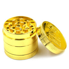 4 Layer Gold Zinc Alloy Hand Crank Herb Mill Crusher Smoke Grinder Muller Gifts