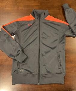 Women's Nike Long Sleeve Dri-Fit Full Zip Jacket Size L Gray/Orange