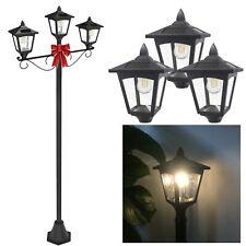 Solar 3 Light Lamp Pole Post LED Adjust Height Garden Walkway Driveway Recharge