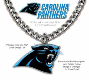 LARGE CAROLINA PANTHERS NECKLACE STAINLESS STEEL CHAIN NFL FOOTBALL  FREE SHIP