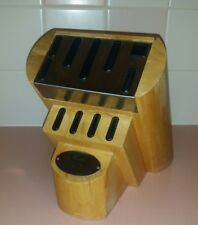Chicago Cutlery Knife Block Solid Oak Heavy Wood 10 Knives & Sharpener Slots