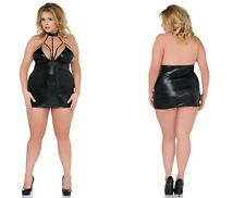 ANDALEA WETLOOK HARNESS KLEID schwarz clubwear glanz übergröße kunstleder plus