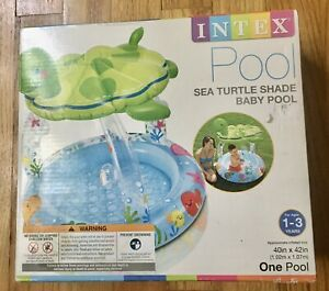 New Intex Inflatable Baby Play Pool Shaded Sea Turtle