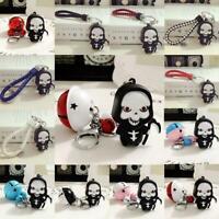 Death Skull LED Light Scary Sound Keyring Key Chain Keychain 3D Halloween Gift