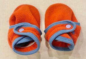 PATAGONIA Baby Fleece Booties Sz Small 6-10M Soft Sole Orange/Blue