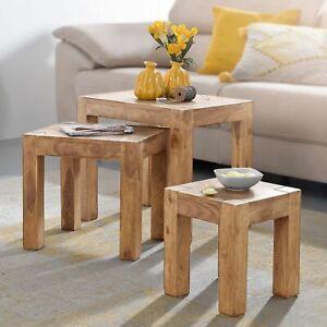 Wohnling Satztisch MUMBAI Wohnzimmertisch 3-teilig Akazie Massivholz Beistelltis