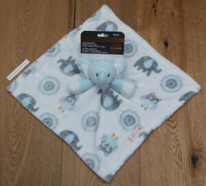 Blankets & Beyond Baby Boy Security Blanket ~Elephants & Owls~White, Blue & Gray