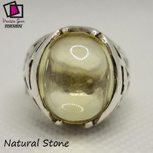 Ring Sapphire White Topaz Natural 925 Sterling Silver Men Handmade Gemstoneتوباز