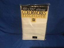 New COLORWORKS LNT HOME Tablecloth 60 x 104 Oblong Cream