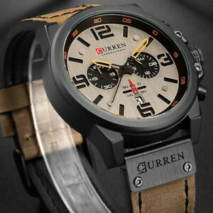Luxury Men's Date Real Sub-dials Stainless Steel Leather Quartz Wrist Watches