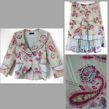 Romantic skirt suit 10 France 42 Cotton bl Floral Pink print Ruffle M Multi