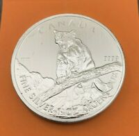 2012 CANADA $5 WILDLIFE SERIES COUGAR  -ONE OZ 9999 FINE SILVER