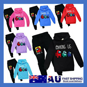 Kids Among us Gamer Casual Hoodie Jumper Tops+Pants Trousers Outfit Tracksuit AU