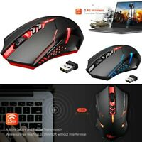 Wireless Gaming Mouse w/ Unique Silent Click Optical 2400 DPI for PC Laptop Mac