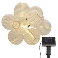 LED Solar Lampionkette 10 er Lampion weiß Garten Party Lichterkette 4,5 m IP44