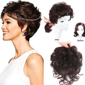 Curly Toupee 100% Human Hair Topper Clip in Hairpiece Extended Tail For women