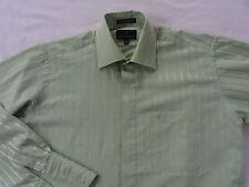 Stacy Adams Men's L/S Button Down Light Green Striped Dress Shirt - 15.5 (34-35)