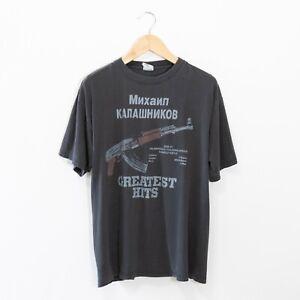 Vintage T Shirt 90s XL - AK47 War Guns Boxy Distressed Faded Funny Used USA