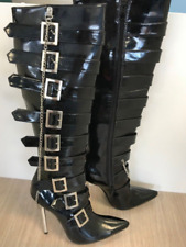 Ladies Black Thigh High PVC Boots with Silver Heel EU Size 39 UK Size 6