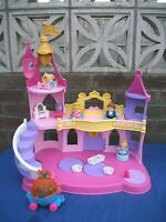 Fisher Price Little People Disney Princes Beauty and Beast castle,musical+4 fig