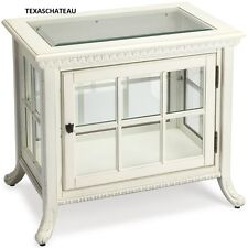 COASTAL CHIC DISPLAY CURIO END TABLE SHABBY BEACH COTTAGE CREAM WHITE STORAGE