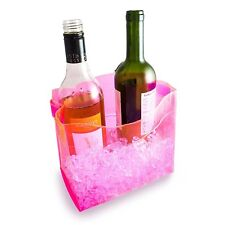 Pink Foldable Ice Bucket Drink Beer Champagne Wine Bottle PVC Plastic Cooler UK