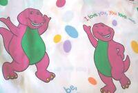 "Barney The Dinosaur Twin Flat Bed Sheet "" I Love You"" 1992"