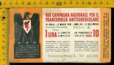 Libretto erinnofilo antitubercolare tv 180