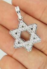 HANDMADE 14K WHITE GOLD ROUND DIAMOND STAR OF DAVID JEWISH MEN WOMAN PENDANT VS1