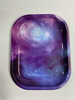 "Purple Galaxy Rolling Tray 7.5"" Inch x 5"" Inch Herb Herbal Tabacco USA FRE SHIP"