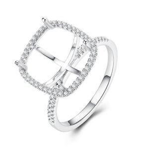 0.3CT Natural Diamond Semi Mount 11x11mm Cushion Cut 10K White Gold Ring Vintage