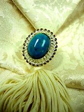 NEW BOX QVC 925 18K GOLD PLATE TWO-TONE OVAL CABOCHON TURQUOISE RING 9 THAILAND