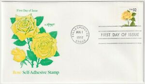 1997 USA FDC - Yellow Rose, Flowers - 32 Cent Self-Adhesive Stamp