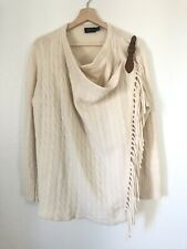 Polo Ralph Lauren Women's Cashmere Wool Leather Cardigan Sweater Poncho SZ Large