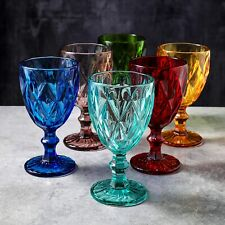 6pc Colors Water/Wine/Beverag Drinking Glasses/Goblet/Drinkware/Tumbler Set