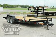 NEW 2020 7 X 18 7K Heavy Duty Wood Deck Car Hauler Equipment Trailer w/ Ramps