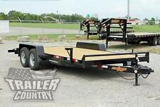 New 2022 7 X 18 7k Heavy Duty Wood Deck Car Hauler Equipment Trailer With Ramps