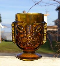 Big Tiki Party Clear Brown Glass Mug Two Sided Comedy Tragedy Tropical Hawaiian
