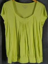Chicos 2 Large Chartreuse Knit Top Shirt Cap Sleeve Chico's
