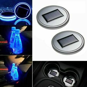 2PCS LED Solar Cup Pad Car Accessories Light Cover Interior Decoration Lamp Blue