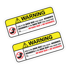 2X WARNING NO BACK SEAT Sticker Decal Car  #0094A